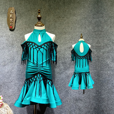Children's Latin Dance Dress with Emerald Knots and tassels, Children's Short-sleeved Dress W221 Female