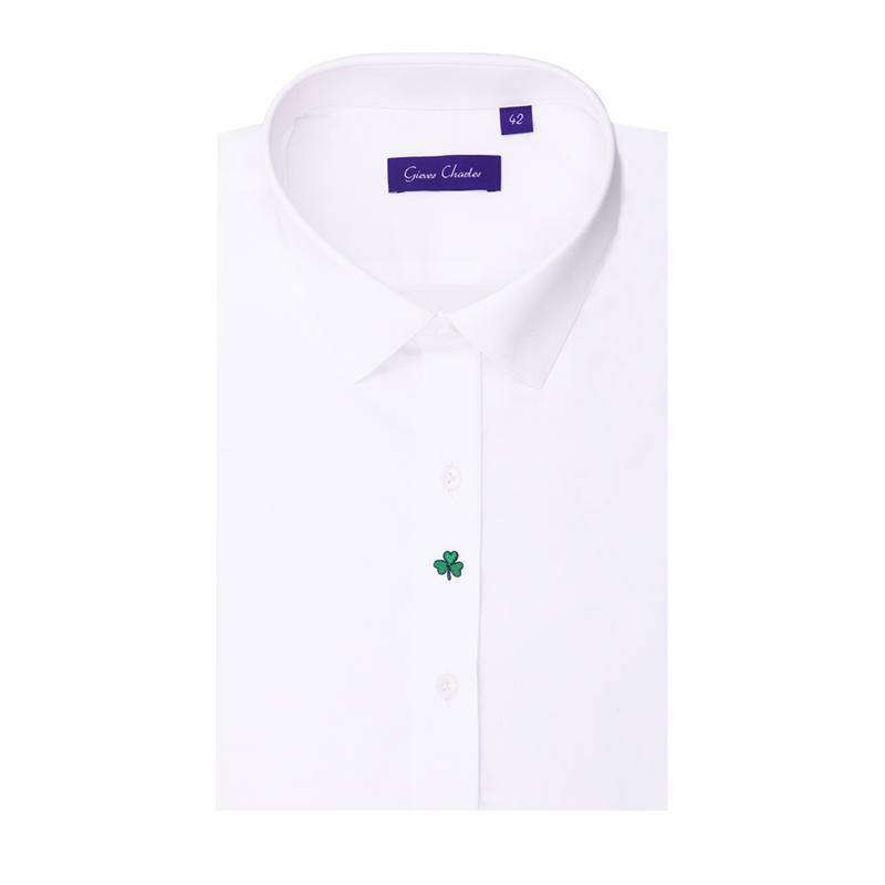 GIEVES CHARLES高支纱纯棉 四叶草刺绣长袖手工衬衫白色支持定制