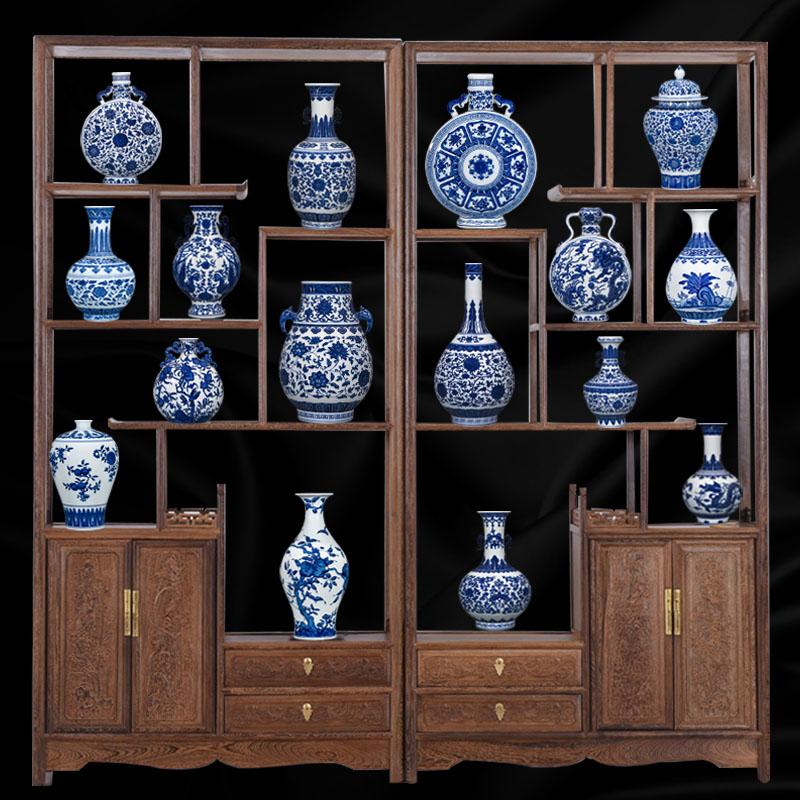 景德镇陶瓷器青花瓷花瓶插花仿古中式客厅电视柜装饰品中国风摆件