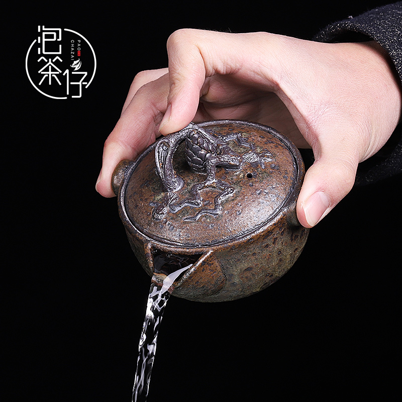 Tea seed coarse pottery firewood pure manual Japanese small hand grasp the teapot lid bowl of kung fu Tea set single pot of restoring ancient ways of household