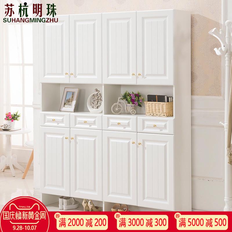 欧式白色鞋柜简约现代门厅阳台储物大容量多功能防晒玄关组合定制