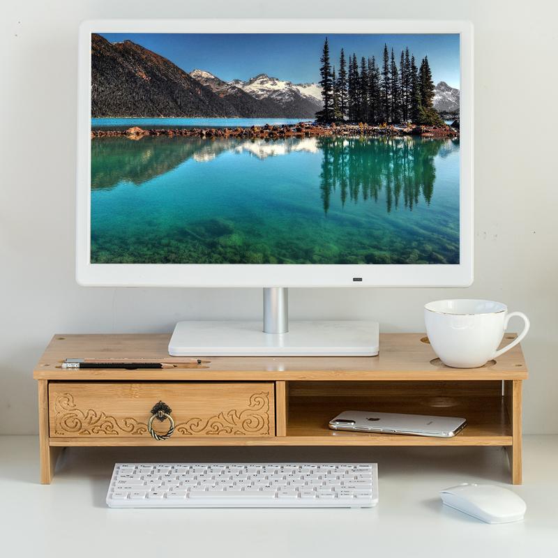 背板台式电脑显示器垫高架楠竹增高支架办公桌面屏幕加高底座托架