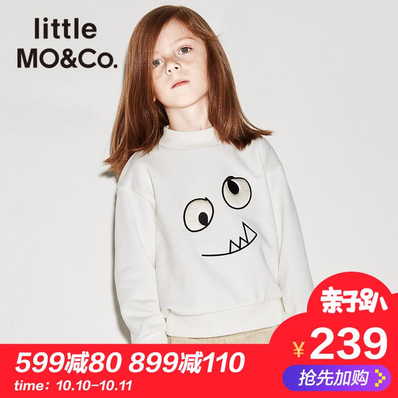 littlemoco男女童卫衣秋冬小怪兽刺绣图案卫衣儿童保暖上衣