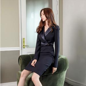 【高档女装】3909#新款女装西装领拼接包臀连衣裙