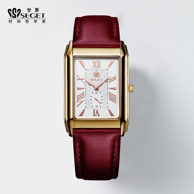世爵女士手表女款名牌石英女表品牌正品时尚防水复古瑞士方形手表