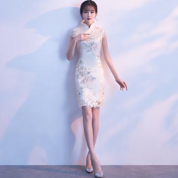 改良版旗袍女夏2018新款少女夏季短款修身日常蕾丝连衣裙端庄大气