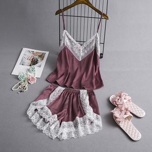 韩版睡衣夏季薄款女冰丝绸吊带短裤套装蕾丝边性感情趣家居服可爱