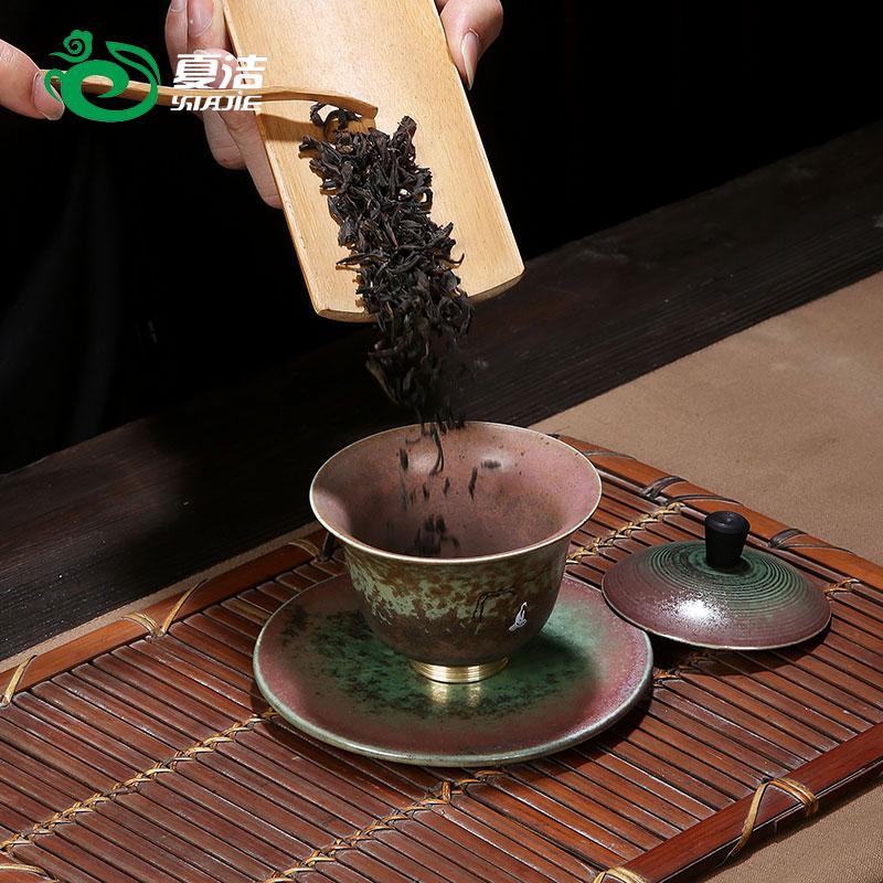 夏洁大号三才盖碗家用茶杯茶碗功夫竞技宝app苹果官方下载陶瓷壶承复古单个泡茶碗