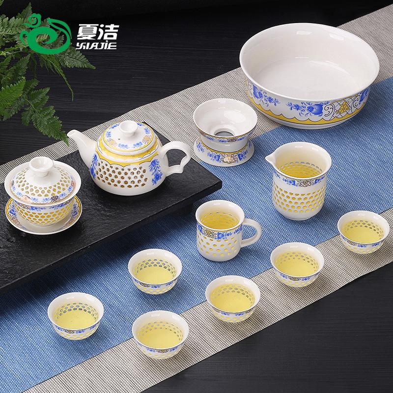 夏洁玲珑创意陶瓷功夫竞技宝app苹果官方下载套装家用泡茶杯茶壶景德镇简约盖碗茶艺