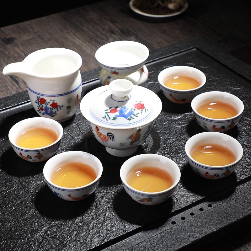夏洁鸡缸杯功夫竞技宝app苹果官方下载套装家用简约景德镇瓷器陶瓷斗彩茶杯现代创意