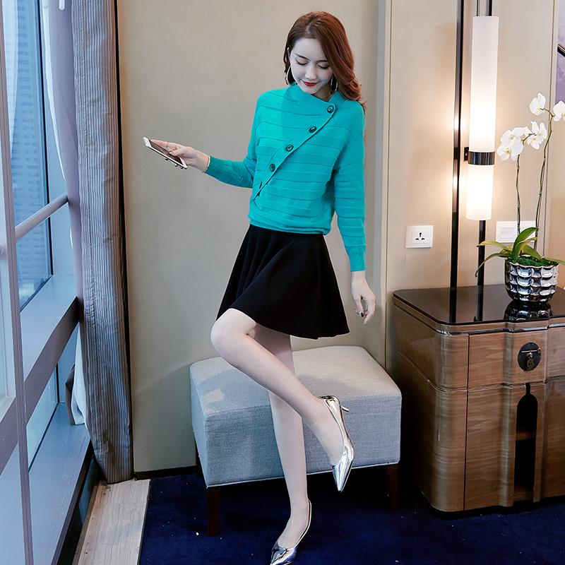 女装秋装女2018新款韩版时尚毛衣长袖荷叶边短裙套装连衣裙两件套