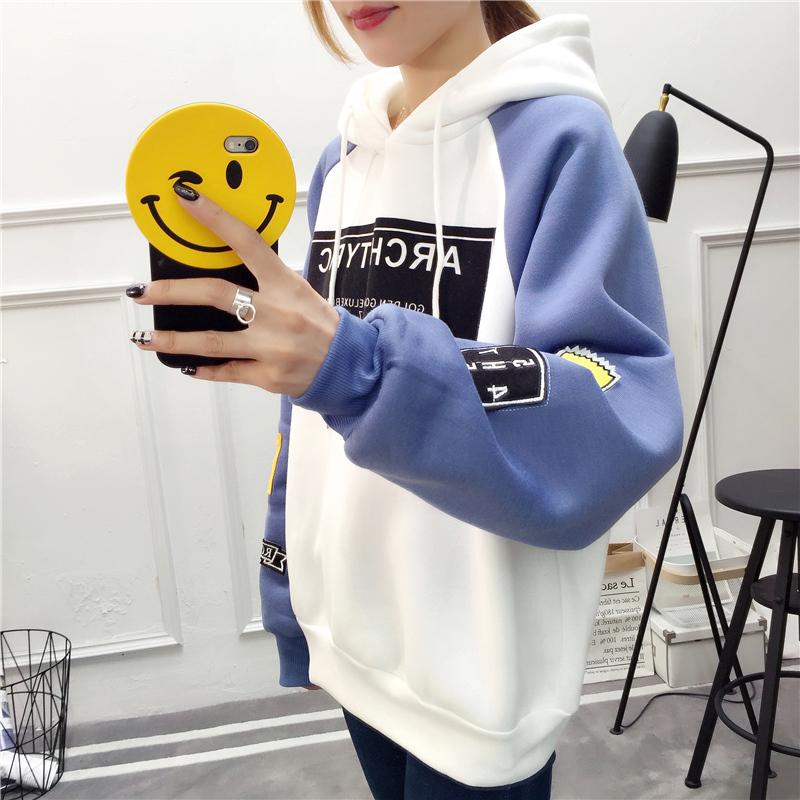 外套少女秋冬装2018新款上衣服初中高中学生韩版闺蜜加绒连帽卫衣