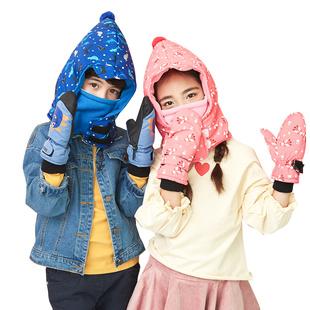 儿童帽子围巾一体帽防风护耳套头帽秋冬季男童女童保暖宝宝帽子潮