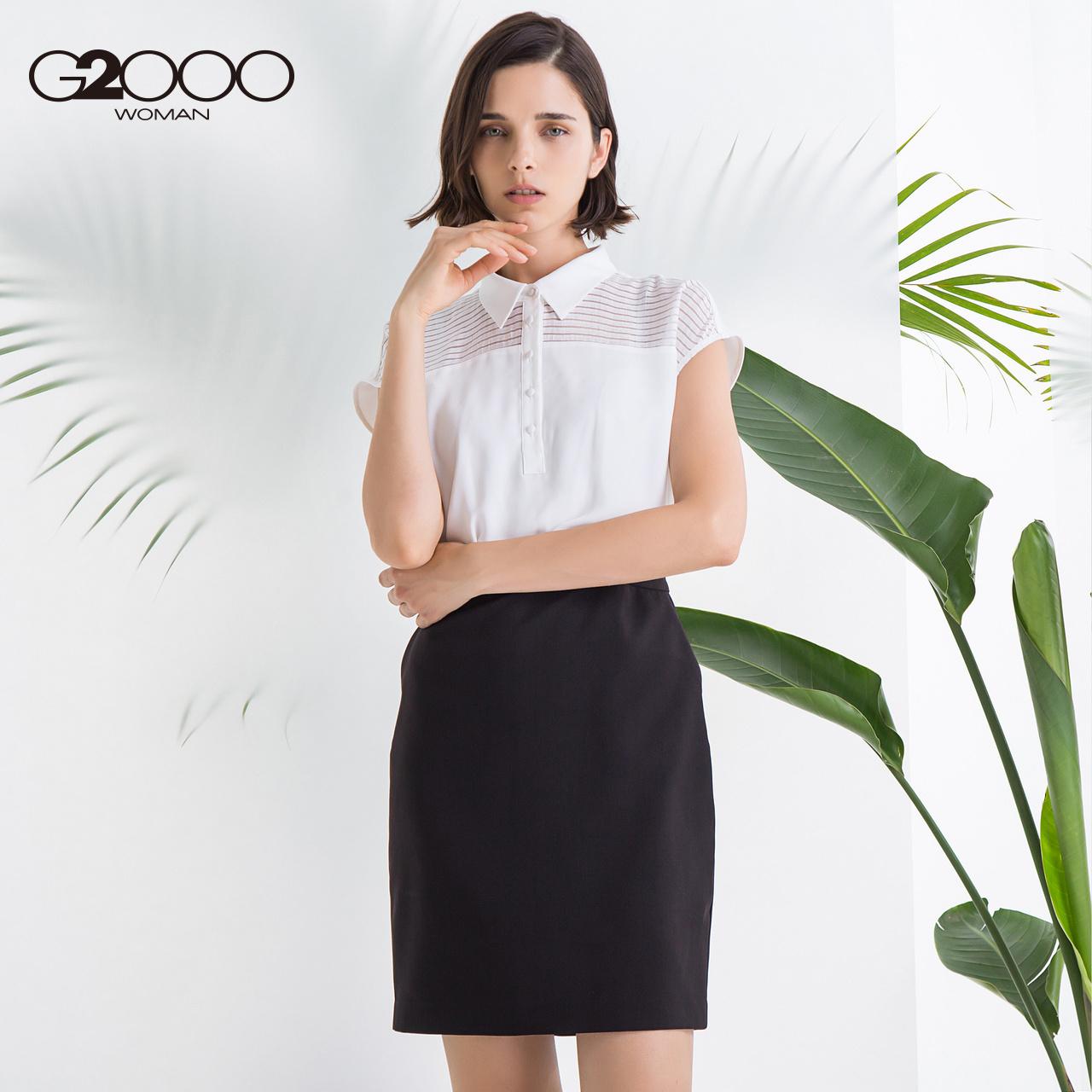G2000女装商务休闲连衣裙 2018夏季新款OL优雅气质假两件衬衫短裙