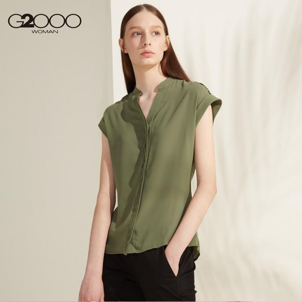 G2000女装短袖衬衫 2018春夏新款纯色V型小立领商务通勤休闲上衣