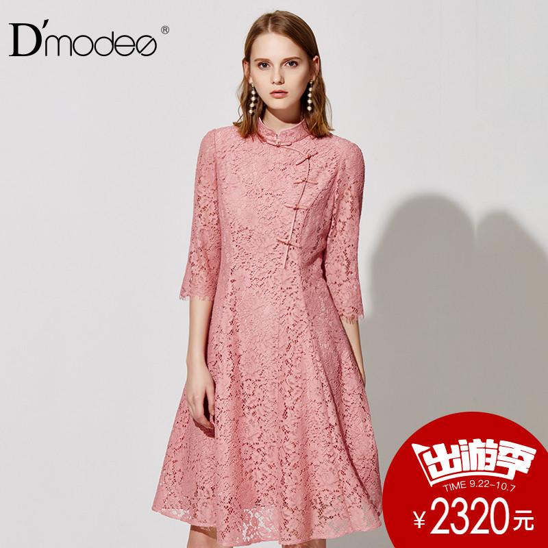 dmodes黛玛诗2018春季新款立领旗袍式反色散摆半袖蕾丝复古连衣裙