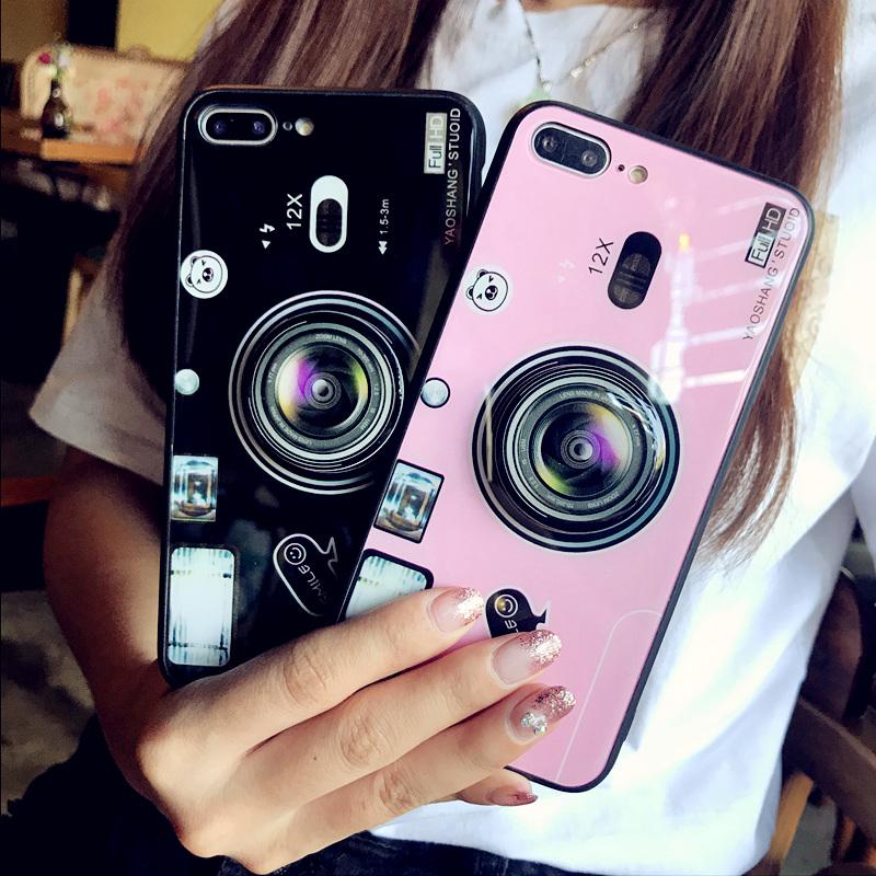 苹果x手机壳iphoneX玻璃6Splus男女款7p气囊支架相机8plus潮牌iphone7情侣ins抖音网红同款6s六七八个性创意