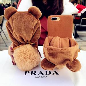 秋冬创意毛绒小熊帽子OPPO R11S手机壳R11plus暖手毛球套OPPO R9S保护套R15标准版可爱个性软壳R17pro支架女