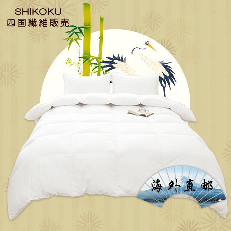 SHIKOKU日本羽绒被90白鹅绒立衬纯棉单双人TTC面料五星级酒店冬被