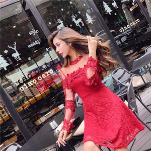 实拍 新款网纱镂空勾花蕾丝连衣裙长袖收腰性感打底裙