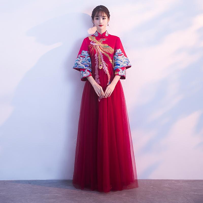 秀禾服新娘2018新款孕妇大码中式结婚龙凤褂红色旗袍敬酒礼服秋冬