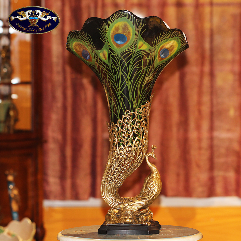 European peacock vase big sitting room porch lucky furnishing articles of key-2 luxury and creative ceramic inlaid copper household soft adornment