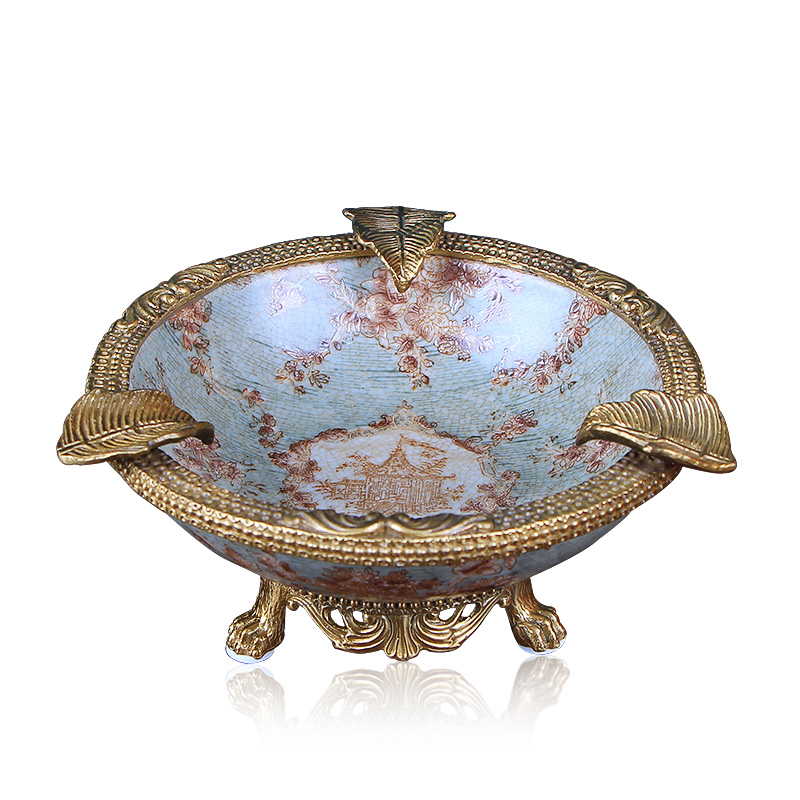 Key-2 Luxury European - style creative ceramic ashtray pure copper move household American retro sitting room tea table decorations furnishing articles