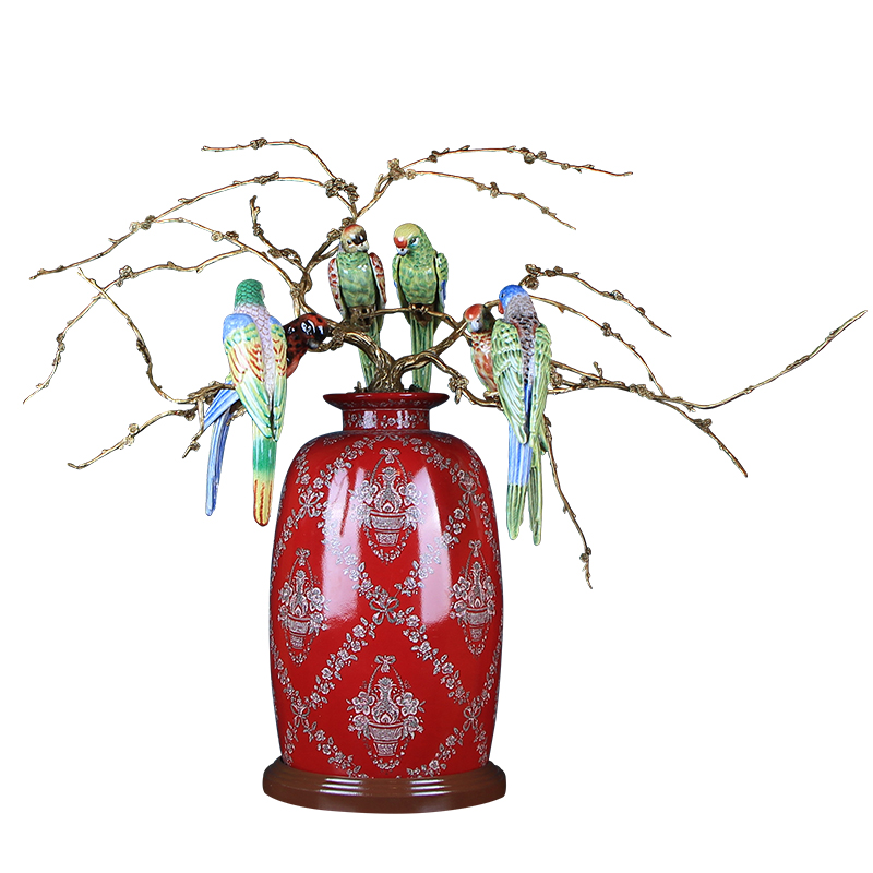 Europe type restoring ancient ways parrot red copper branch ceramic bottle villa living room porch household soft adornment vase furnishing articles