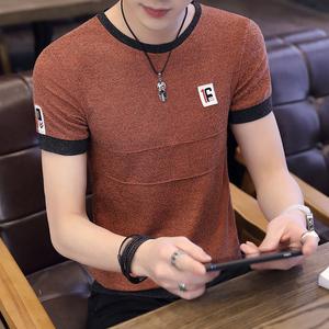 男士夏季韩版短袖t恤潮流个性纯色打底衫男装半袖上衣圆领体恤衫