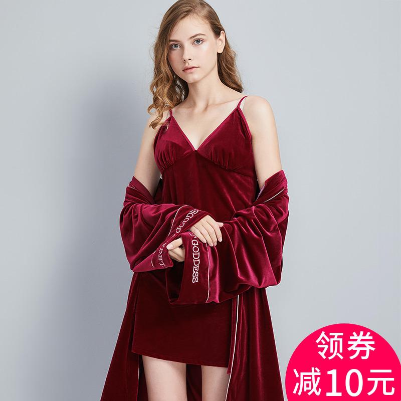 金丝绒睡裙睡袍两件套女秋冬季长袖睡衣套装红色结婚新娘婚礼晨袍