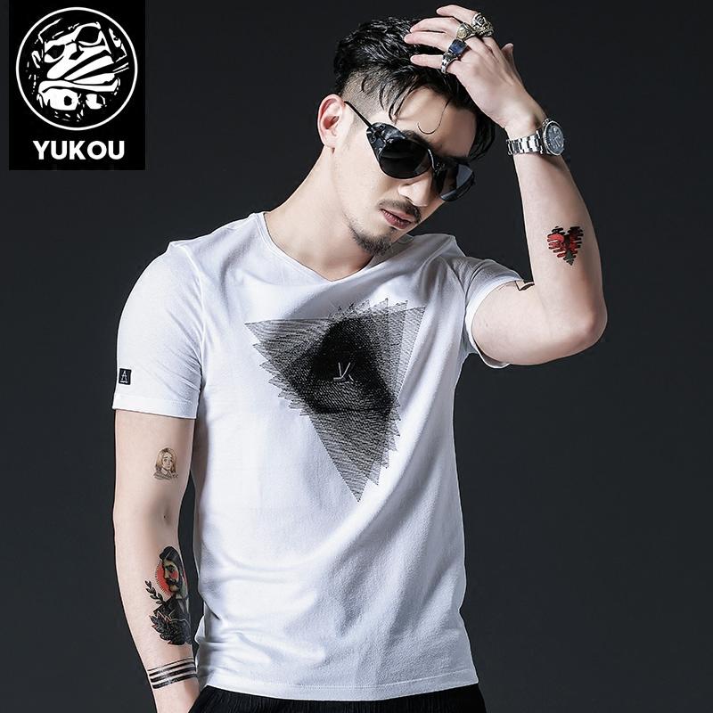 遇寇短袖t恤男夏季韩版潮流修身个性时尚图案刺绣纯棉潮牌半袖男