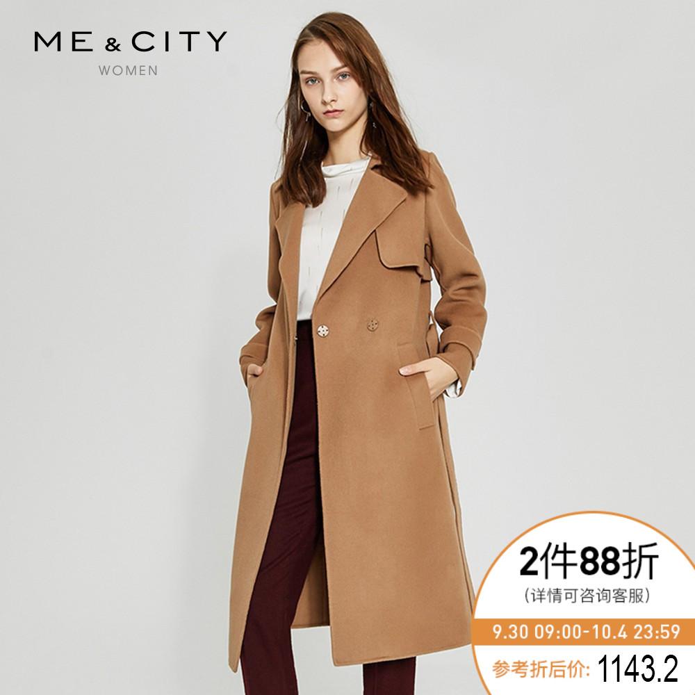 折|MECITY女装复古羊毛中长款双面呢系带大衣外套