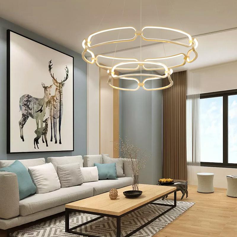 北欧灯具客厅吊灯创意个性餐厅灯吊灯现代简约艺术灯金圆形风格灯