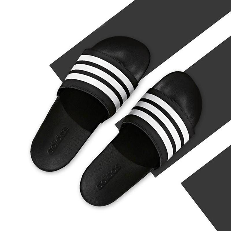 阿迪达斯男凉拖鞋2018夏季新款运动拖鞋防滑游泳一字凉拖 G15890