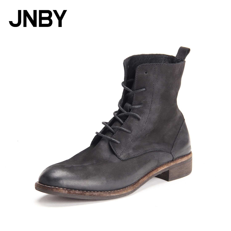 JNBY-江南布衣女鞋新款帅气做旧系带马丁靴女牛皮中筒靴7H0580030