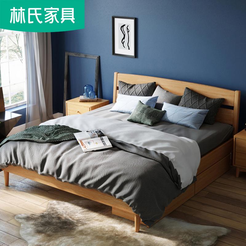 卧室家具北欧实木床1.8米白橡木原木矮床现代简约双人床1.5BH5A-C
