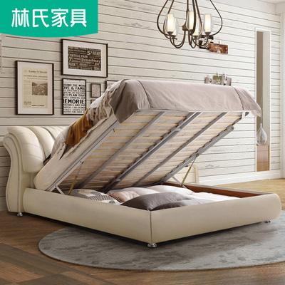 主卧现代简约双人床1.8米欧式真皮床高箱储物床1.5榻榻米皮床R31