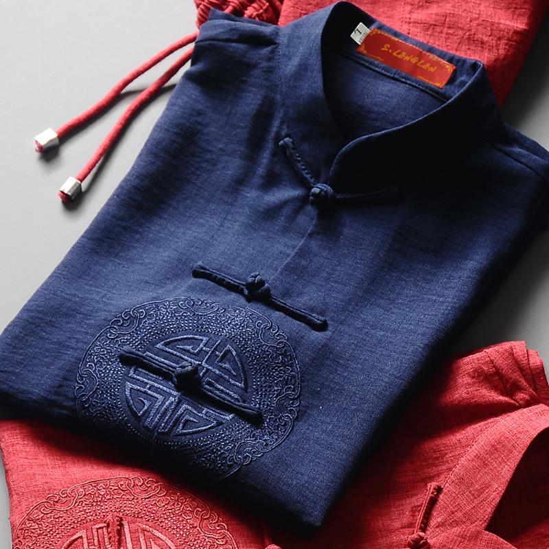 中国风夏季新款唐装男短袖套装中老年人中式棉麻汉服爸爸装居士服
