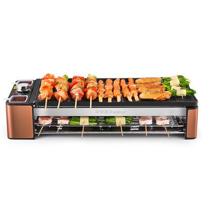 荣事达电烤肉炉自助家用自动电烤串烤羊肉串烤鱼机双层电烤盘