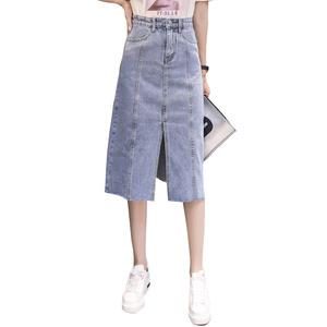 实拍1818#前开叉牛仔半身裙女2018春秋季新款显瘦中长款高腰包臀