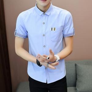 陆地战车新款潮牌衬衫夏季帅气纯棉衬衫商务休闲青年男士短袖衬衣