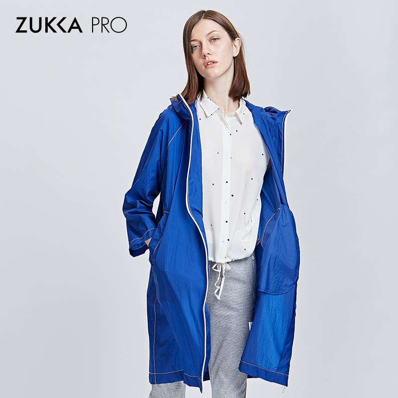 ZUKKA PRO卓卡秋季薄款纯色修身显瘦中长款外套休闲连帽风衣女