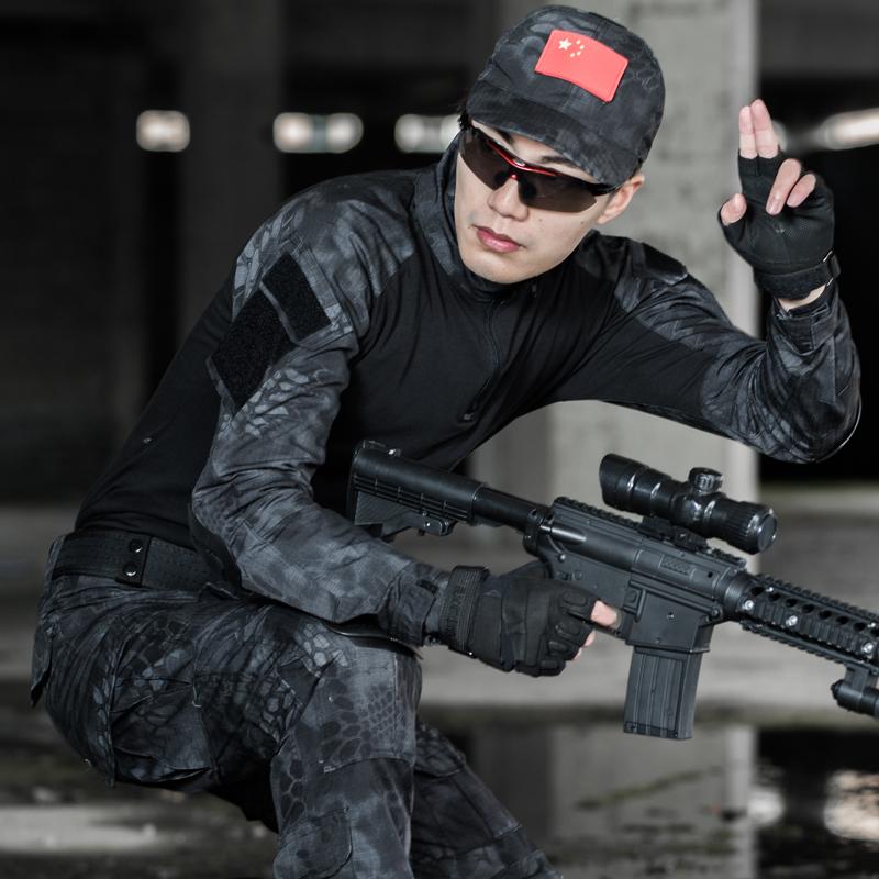 舍图户外黑色蟒纹迷彩服套装男军迷修身特种兵蛙服作训服战术服装