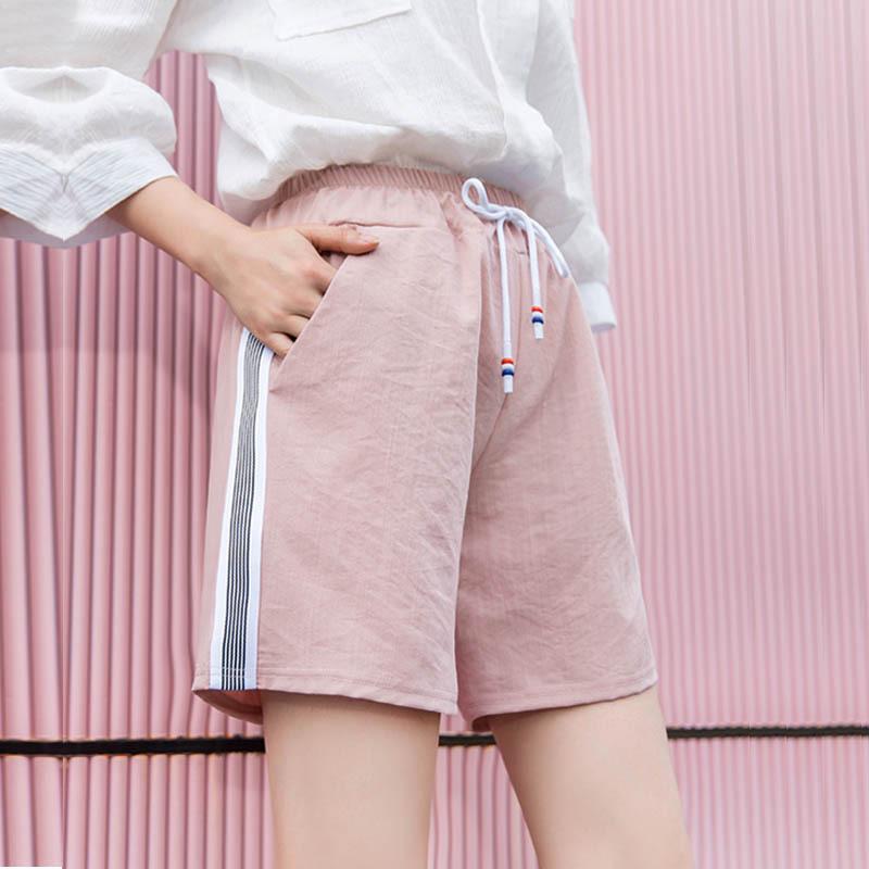 棉麻休闲短裤女外穿夏季2021新韩版高腰五分宽松学生运动宽松短裤
