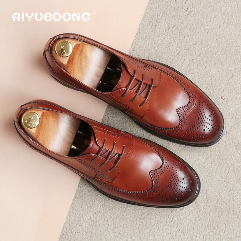 秋季透气布洛克雕花商务休闲皮鞋男真皮厚底英伦正装鞋男士增高鞋