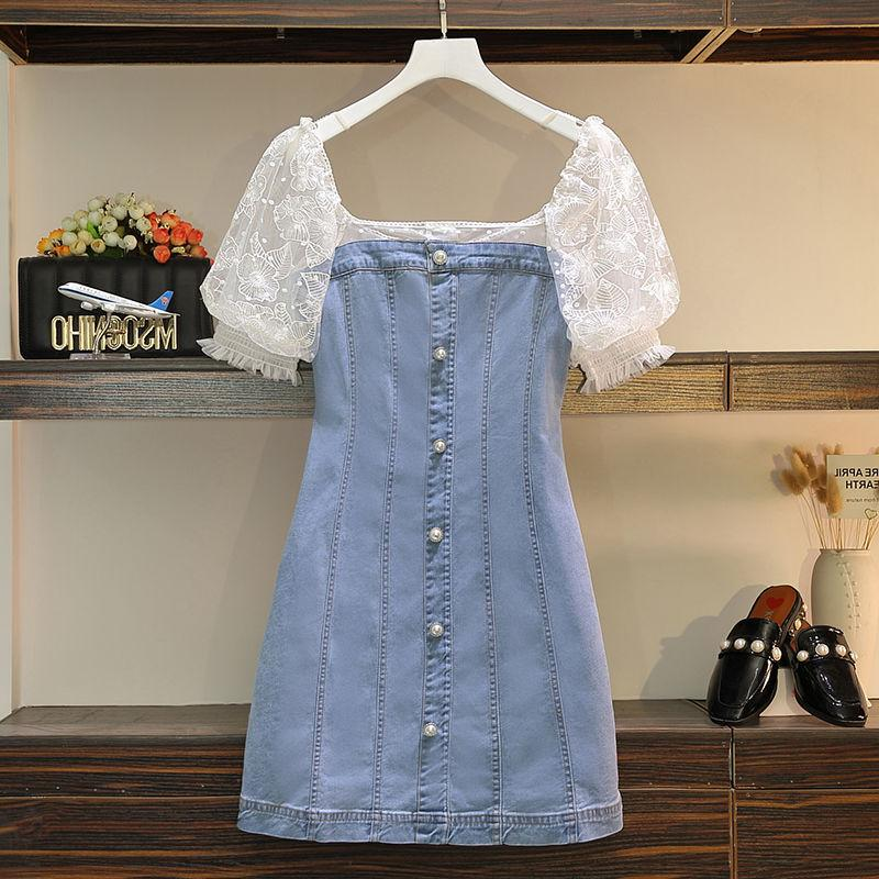 牛仔裙2020夏季新款韩版修身显瘦洋气时尚弹力网纱拼接连衣裙女夏