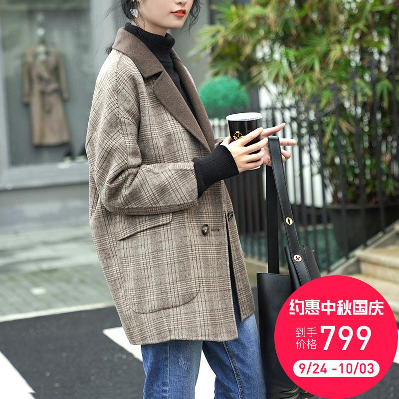2018新款流行双面羊绒大衣女小个子短款格子赫本风森系毛呢外套冬