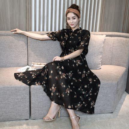 2018夏新款韩版雪纺碎花连衣裙超仙气森女收腰短袖沙滩温柔长裙子