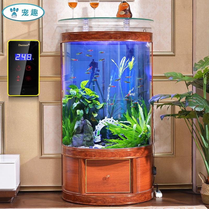 德茉中欧式客厅金鱼缸玻璃一键排水中大型落地家用风水招财水族箱