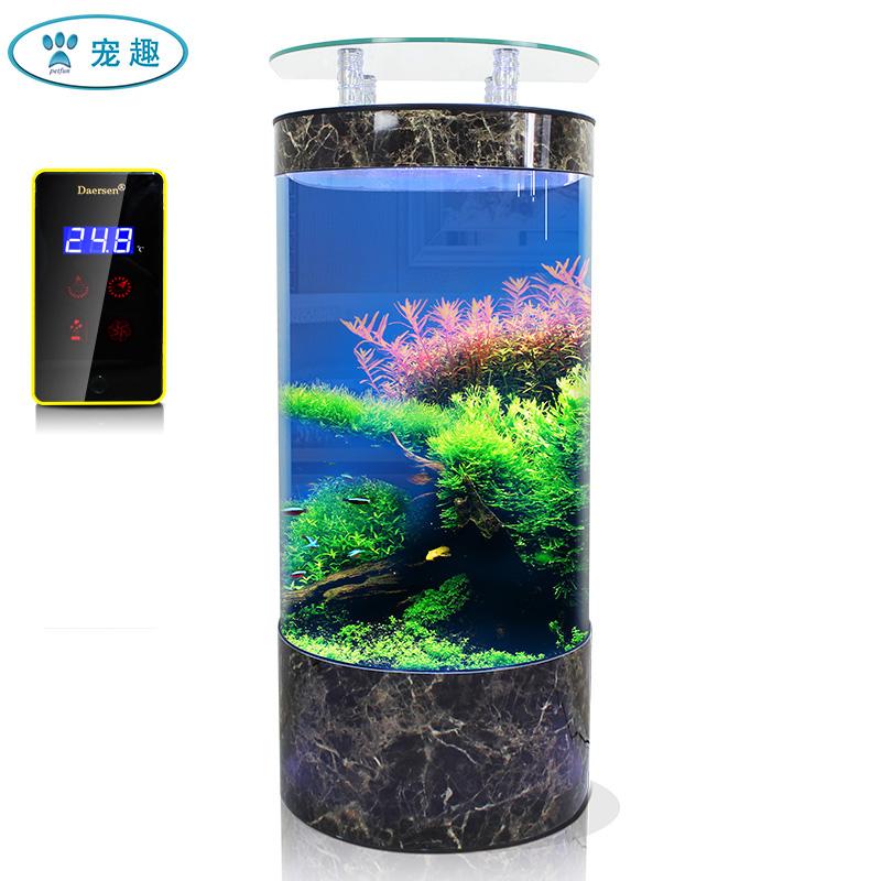 德茉半圆形鱼缸客厅中大型玻璃靠墙创意生态免换水家用落地水族箱